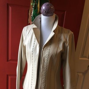 Bagatelle ivory leather zipper jacket
